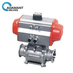Encapsulated Sanitary 3 Piece Ball Valve with ISO 5211 Actuator, Pneumatic Type