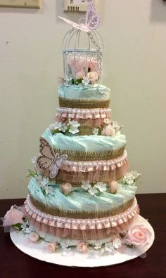 Shabby Chic Diaper Cake Like what you see? Follow me on FB www.facebook.com/MisawaGiftCakesbyTasha