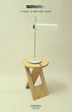 Tribute to Bertrand Lavier    Fermigier /  Tallon    [Etienne Fermigier, lampe de bureau + Roger Tallon, tabouret pliable]