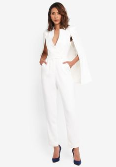 This pin was discovered by raye watts. Cape Jumpsuit, White Jumpsuit, Summer Jumpsuit, Casino Dress, Casino Outfit, White Outfits, Dress Outfits, Wedding Jumpsuit, Cape Coat