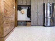 Adding attractive cabinet storage and cleaning up the floor with an epoxy chip system changes everything; by doing this you can transform several square feet of often unused space into a livable and comfortable environment for gatherings, parties, and hobbies.