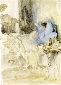 Page: Convalescent (aka Petit Dejeuner; note in opal) Artist: James McNeill Whistler Start Date: 1883 Completion Style: Impressionism Genre: genre painting Technique: watercolor Dimensions: 26 x cm James Abbott Mcneill Whistler, Lawrence Alma Tadema, Illustrations, Illustration Art, Apple Cider, Reproduction, Art Database, Art For Art Sake, Henri Matisse