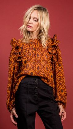 Ulla Johnson Medine Blouse - Ochre on Garmentory Trendy Outfits, Cute Outfits, Girly Outfits, Fashion Outfits, Fashion Clothes, Beautiful Outfits, Beautiful Blouses, Batik Fashion, Thanksgiving Outfit