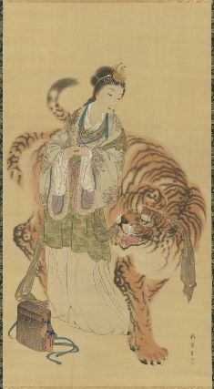Queen Mother of The West and Tiger        Immortal and a Tiger      (虎と仙女)        Japanese, Edo period, 19th century      Shibata Gitô, Japanese, 1780–1819    Dimensions      Image: 138.2 x 75.2 cm (54 7/16 x 29 5/8 in.)  Medium or Technique      Hanging scroll; ink and color on silk  Classification      Paintings     Type      Hanging scroll  Accession Number      11.4710  Not on view