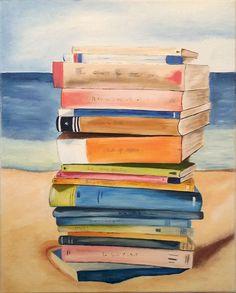 Livres et plage - peinture à l'huile -