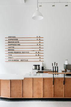 Menu board at Passenger Coffees new Coffee Bar & Tea Room.