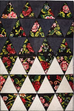 BARBY BLACK & WHITE modern geometric floral rug Black Rugs, Geometric Rug, Floral Rug, Contrast, Quilts, Black And White, Modern, Trendy Tree, Quilt Sets