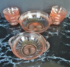 Pink Depression Glass Berry Bowl Set From Hocking Glass Co