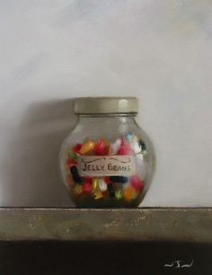 Original Oil Painting - Jelly Beans - Retro/Vintage Still Life Art - Nelson