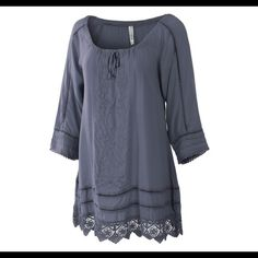 HP  NWT Sleek Gray blouse ❄️ This has a drawstring neckline, trims between panels, and lace at the bottom. I have 1Small, 3 medium, and 1 large. 100% Rayon. Please do NOT buy this listing, I will make a new listing with your size Monoreno Tops Blouses