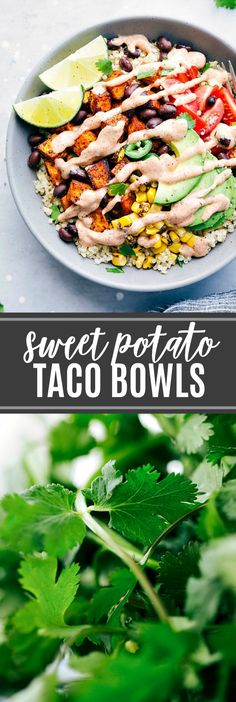 The ultimate BEST EVER sweet potato taco bowls! via chelseasmessyapron.com