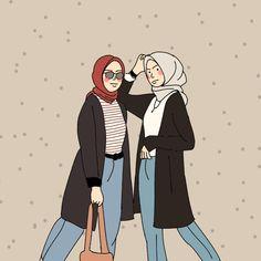 Cartoon Girl Drawing, Girl Cartoon, Sunset Captions For Instagram, Hijab Cartoon, Girl Hijab, Cartoon Wallpaper, Islamic Art, Art Girl, Bff