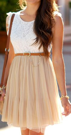 Pleated Lace Tulle Dress