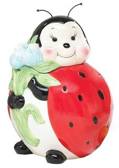 Adorable Ladybug Cookie Jar/Food Storage For Kitchen Decor And Collections: Amazon.com: Home & Kitchen