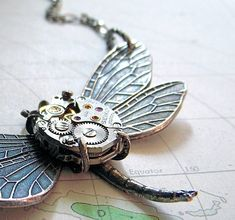 Steampunk Necklace Silver Plated Victorian Dragonfly Necklace Tiny Vintage Watch Movement Art Nouveau Antiqued Rustic Finish on Etsy, $65.00