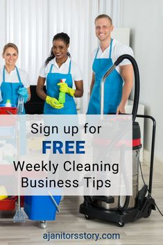 SIGN UP and get FREE weekly cleaning service business tips and ideas for your house and office building cleaning service. Cleaning business printables | Cleaning business forms. #ajanitorsstory #professionalcleaningbusiness Building Cleaning Services, Cleaning Services Company, Cleaning Companies, Professional House Cleaning, Professional Cleaners, Cleaning Business, Weekly Cleaning, Cleaning Hacks, Business Articles