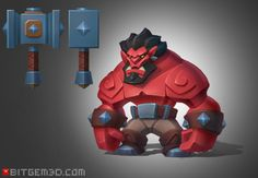 Coming Up…A series of arcade heroes! Hero concept The Red Ork! By Dmitriy Barbashin! 3d Model Character, Game Character Design, Character Modeling, Character Creation, Character Design Inspiration, Character Concept, Character Art, Square Character, Game Design
