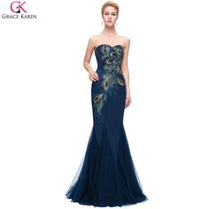 Cheap dress romantic, Buy Quality dress formal dress directly from China dress up black dress Suppliers: Peacock Bridesmaid Dresses Grace Karin Royal Navy Blue Champagne Mermaid Peacock Prom Dresses Long Wedding Bridesmaid Dresses