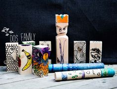 dosfamily found this at kollijox house. The wooden garden game kubb decorated with doodles