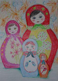 Tekenmaar kinderen: Baboushka