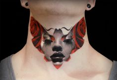 portait overlay on moth, neck tattoo by Michael Taguet