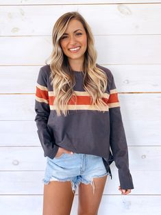 Serve up a stylishly simple look with the Alanna Oversized Striped Tee! Soft and lightweight knit shapes this essential Teen Fashion Outfits, Outfits For Teens, Fasion, Girl Fashion, Girl Outfits, Cute Casual Outfits, Cute Summer Outfits, Spring Outfits, Denim Shorts Outfit