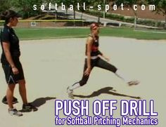 """The """"Push Off"""" softball pitching mechanics drill cuts down the distance between the pitcher/catcher and builds more momentum to throw the ball harder."""