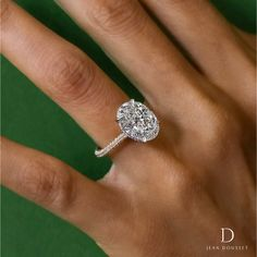 SARAH custom engagement ring set in platinum and 18K yellow gold with a 6.00+ carat oval cut diamond, handcrafted by Jean Dousset. #love #engagementrings #engaged #custom