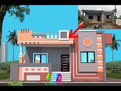 House Front Elevation Designs For single Floor | Indian Home Elevation For new Buildings | 3D HOME. - YouTube House Porch Design, House Front Wall Design, House Outer Design, Single Floor House Design, Modern Small House Design, House Outside Design, Village House Design, Bungalow House Design, Front Design