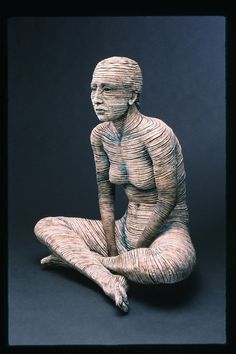 Adrian Arleo's Pretending, 30 in. (76 cm) on height, clay, glaze, 2000. Photo: Chris Autio.   Adrian's work is currently represented by Gravers Lane Gallery, in Philadelphia, Pennsylvania.   To see more of Adrian's work, visit http://adrianarleo.com/.