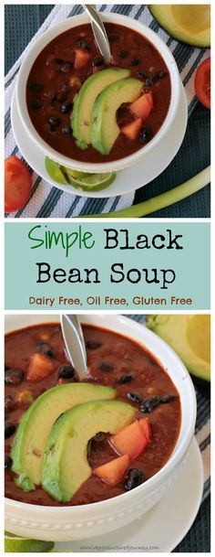 Simple Black Bean Soup - only 6 ingredients and on the table in less than 30 minutes! Gluten free, dairy free, oil free, vegan! – More at http://www.GlobeTransformer.org
