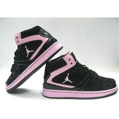Womens Air Jordan 1 Rings Shoes Black Pink Wholesale ❤ liked on Polyvore