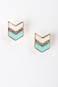 Indio Chevron Studs in Mint - this particular item is no longer available, but the site this pin links to has tons of adorable jewelry at amazing prices!