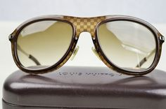e64cdaac22c3 Authentic Louis Vuitton Damier Pattern Brown Plastic Frame Lens Sunglasses   LouisVuitton  Round Uv Sunglasses