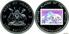 Уганда 1000 шиллингов 1996 Известные места в мире: Юнгфрауйох – Горный перевал в Швейцарии (цветная пластиковая аппликация).