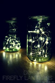 Firefly Mason Jar Lights | Easy and Rustic Decor For Bedrooms by Diy Ready http://diyready.com/diy-room-decor-with-string-lights-you-can-use-year-round/