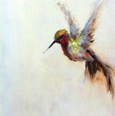 Originele olieverfschilderij kolibrie door AmandaFaubusFineArt