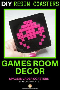 This is a fun DIY Arcade Game room idea that you can make. Learn the clever trick used to make the pixelated Space Invader aliens and then how to embed them into resin to make a drink coaster. This is the perfect geek accessory to add to your games room or mancave. #MillLaneStudio #arcadegameroomdecoridea #pixeldiycrafts #spaceinvaders #resincoasterdiy