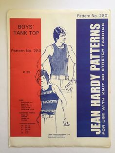 Vintage Jean Hardy Sewing Pattern 280 Boys Tank Top Shirt Uncut 1972 Sizes XS-XL #JeanHardyPatterns #BoysTankTop