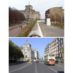 The Reichstag building and the Berlin Wall on November 10, 1989. Bottom: the same view 20 years later