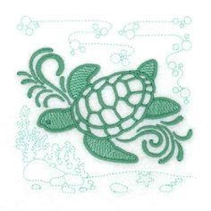Sea Turtle Echo Scene - 4x4 | What's New | Machine Embroidery Designs | SWAKembroidery.com Starbird Stock Designs