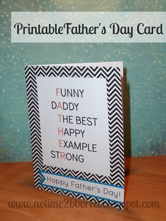 No time to be bored: Free Printable Father's Day Card