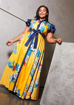 The royal blue antique floral and polka dot patterned dress. Very unique short ruffled sleeves, collared women's maxi dress. - Button closure- No stretch- Waist tieModel Info Height: Bust: Waist: Hip: is wearing African Maxi Dresses, Latest African Fashion Dresses, Plus Size Maxi Dresses, Plus Size Outfits, Women's Runway Fashion, Maxi Skirt Outfits, Look Plus Size, Curvy Outfits, Dress Patterns