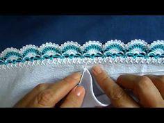Crochet Boarders, Crochet Edging Patterns, Crochet Designs, Knitting Videos, Crochet Videos, Knitting Stitches, Crochet Flowers, Crochet Lace, Saree Kuchu New Designs