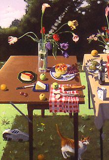 'Two Tables with Fruit and Cheese, acrylic paint on canvas painting by Paul Wonner, 1992, private collection - Paul Wonner - Wikipedia