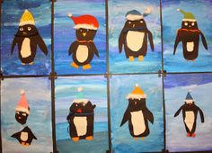 Cool penguin winter / snow / ice art project for kids. Did this with first graders. I think they are super cute!