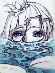Pencil sketch: Mermaid in the pond by Qinni on DeviantArt Art And Illustration, Mermaid Illustration, Beautiful Drawings, Cool Drawings, Beautiful Eyes, Arte Inspo, Qinni, See Tattoo, Watercolor Ocean