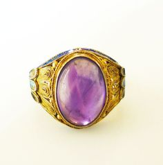 Chinese Export Ring Amethyst Gemstone Silver by zephyrvintage