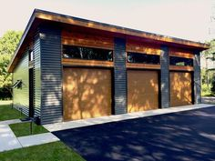"""Modern 3 car garage plain front. I'd want 2 car with storage space. This is 38"""" 4' x 25'4"""""""