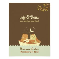 """A original illustration of a singing owl & a musically-inclined pussycat out at sea adorns this whimsical wedding invitation set. The design is a <a href=""""http://www.poptasticbride.com"""">Poptastic Bride</a> original.<br><br> <center><strong>See all the matching items for this collection:</strong><br><br> <a href=""""http://www.zazzle.com/poptasticbride*/gifts?cg=196443882534737536""""><img src=""""http://www.poptastictees.com/zazzle/browse-owl-and-pussycat.jpg"""" ..."""